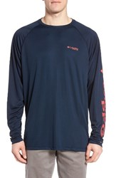 Columbia Men's Pfg Terminal Tackle Performance Long Sleeve T Shirt Collegiate Navy Sunset Red Lo