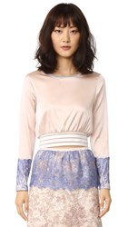 Loyd Ford Crop Pullover With Lace Blush