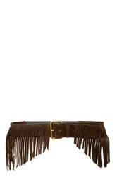 Jj Winters Farrah Italian Calf Suede Fringe Stretch Belt Brown