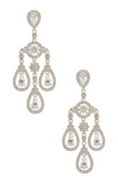 Nadri Triple Drop Cz Chandelier Earrings Metallic