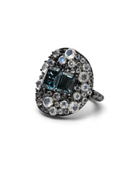 Stephen Dweck London Blue Topaz And Rainbow Moonstone Shield Ring Labradorite