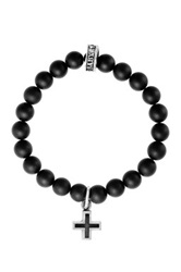 King Baby Studio Sterling Silver Ancient Cross Charm And Matte Onyx Beaded Stretch Bracelet Black