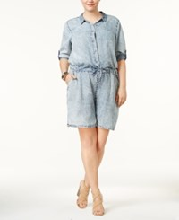 Standards And Practices Trendy Plus Size Chambray Drawstring Romper Blue Crush
