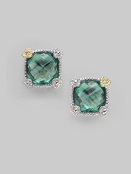 Judith Ripka Green Quartz And Sterling Sterling Small Cushion Stud Earrings