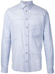 Forme D'expression Striped Panelled Shirt Blue