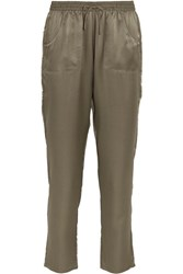 Eres Silk Jacquard Pajama Pants Army Green