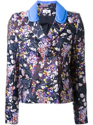 Carven Jacquard Blazer Pink And Purple