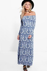 Boohoo Paisley Off Shoulder Flared Sleeve Maxi Dress Blue