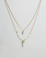 Ashiana Multi Layer Bead Necklace With Stone Detail Gold White