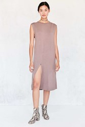 Silence And Noise Asymmetric Muscle T Shirt Midi Dress Brown