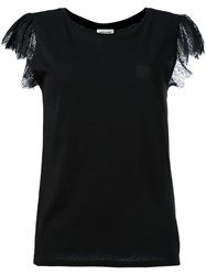 Saint Laurent Lace Flutter Sleeve T Shirt Black