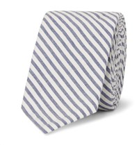 Thom Browne 5.5Cm Striped Cotton Oxford Tie Navy