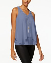 Amy Byer Bcx Juniors' Layered Tank Top With Necklace Denim