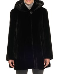 Gorski Mink Fur Button Front Hooded Jacket Black