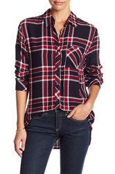 Beach Lunch Lounge Plaid Pocket Blouse Red
