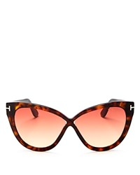Tom Ford Arabella Cat Eye Sunglasses 54Mm Dark Havana Red Gradient