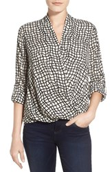 Women's Pleione Faux Wrap Blouse Stone Black Net Print