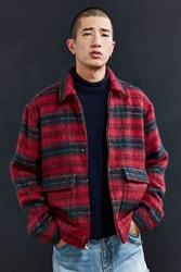 Urban Outfitters Uo Hairy Plaid Gas Jacket Red Multi