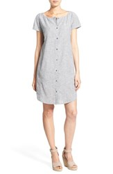 Women's Eileen Fisher Hemp And Organic Cotton Bateau Neck Shirtdress