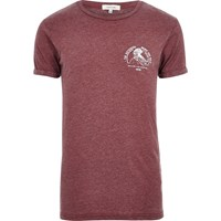 River Island Mensdark Red Burnout Print T Shirt