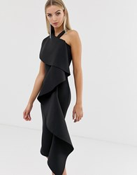 Lavish Alice Black Scuba Exaggerated Frill Halterneck Midi Dress