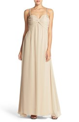 Women's Hayley Paige Occasions Beaded Strap Sweetheart Neckline Chiffon A Line Gown