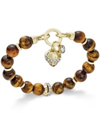 Charter Club Gold Tone Brown Bead Charm Bracelet Only At Macy's