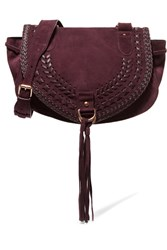 See By Chloe Collins Medium Suede And Textured Leather Shoulder Bag Plum