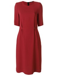 Odeeh Classic Shift Dress Women Cotton Acetate Viscose 40 Red