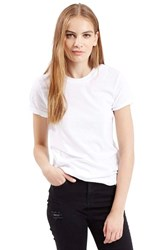 Women's Topshop Roll Sleeve Crewneck Tee White