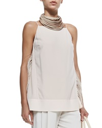 Brunello Cucinelli Strapped Tank W Ostrich Feather Sides