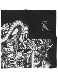 Dsquared2 Tattoo Printed Scarf Men Modal One Size Black