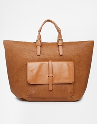 Pieces Tan East West Large Tote With Pocket And Strap Detail