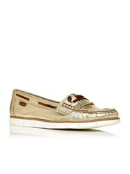 Moda In Pelle Abano Moccasin Boat Shoes Gold