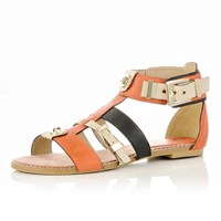 River Island Womens Orange Strappy Sandals