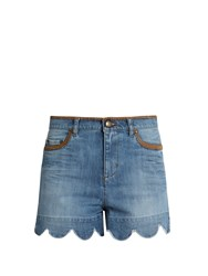 Red Valentino Scallop Edged High Rise Denim Shorts