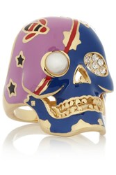 Kenneth Jay Lane Gold Plated Cubic Zirconia And Faux Pearl Skull Ring Metallic