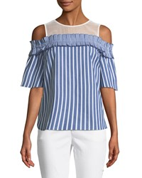 Cynthia Steffe Cold Shoulder Striped Blouse Blue