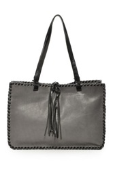 Carla Mancini Signature Whipstitched Leather Tote Gray