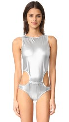 Moschino One Piece Swimsuit Silver