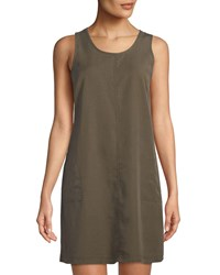 Dex Scoop Neck Sleeveless Utility Dress Khaki