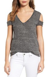 Pam And Gela Women's Cold Shoulder Tee Heather Grey