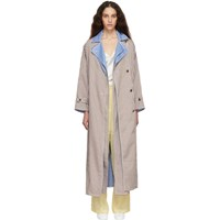 Ports 1961 Brown And White Gingham Criss Cross Front Trench Coat