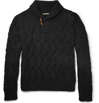 Boglioli Shawl Collar Cable Knit Wool Sweater Black