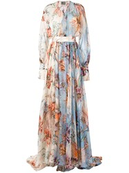 Fausto Puglisi Floral Print Evening Dress Women Silk 38 Blue