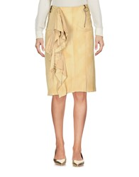 Haute Knee Length Skirts Ocher