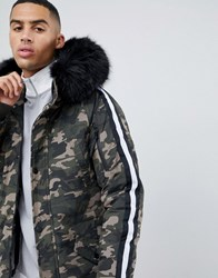 Sixth June Parka Coat In Camo With Black Faux Fur Hood Green
