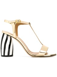 Marc Ellis Striped Heel Sandals Metallic
