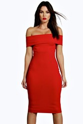 Boohoo Off The Shoulder Midi Bodycon Dress Red