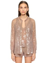 Alberta Ferretti Beaded And Sequined Tulle Shirt Beige Champagne